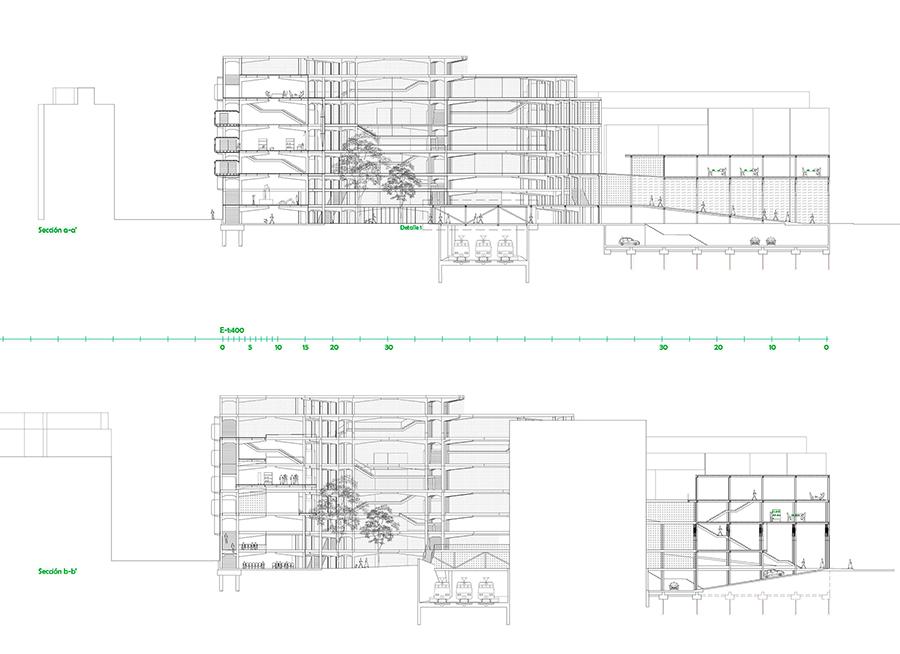 Secciones transversales. Jardín interior (izquierda) y laboratorio (derecha).