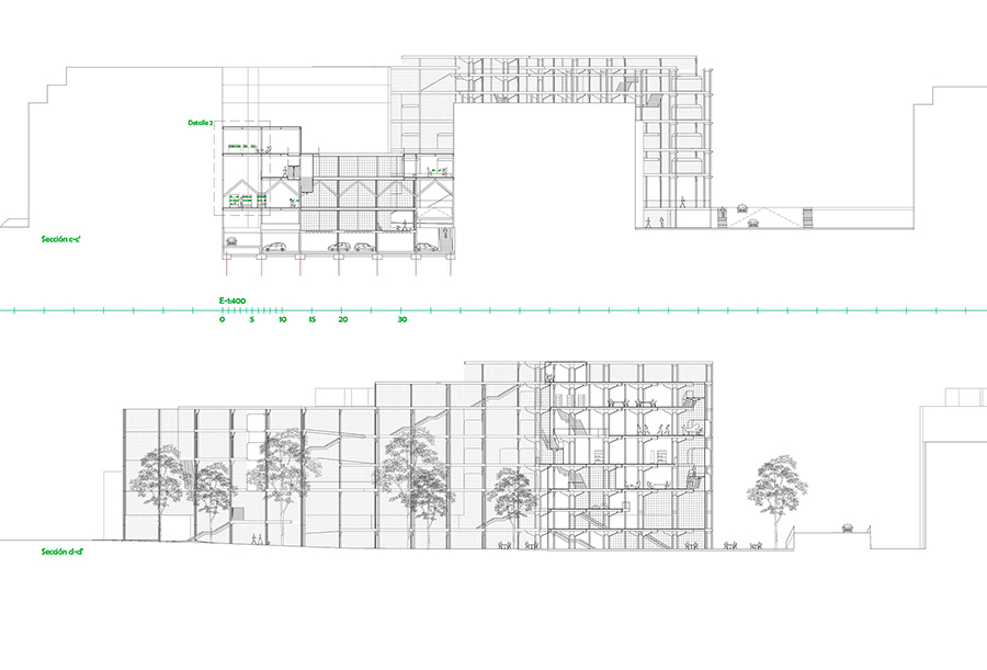Sección por laboratorio (antiguas naves industriales) y sección longitudinal por el jardín interior.