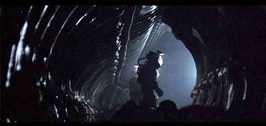 Los pasillos de la nave alienígena, obra de H. R. Giger