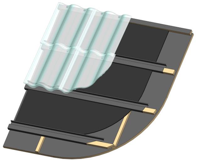 Sistema Sigma. Se calienta el aire bajo la membrana oscura y este se utiliza para generar ACS y calefacción.
