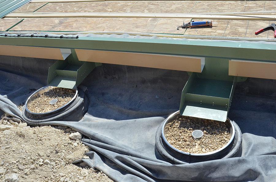 Canalizaciones preparadas para la recogida de agua.