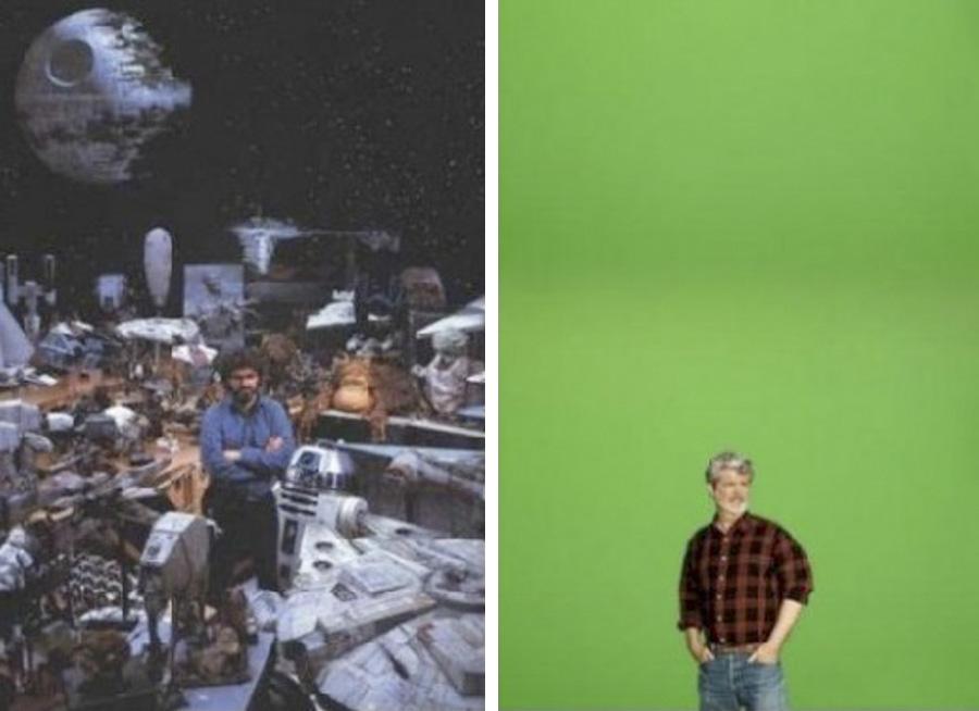 Izquierda: George Lucas en el set de la primera trilogía (1983)  Derecha: George Lucas en el set de la segunda trilogía (2005)