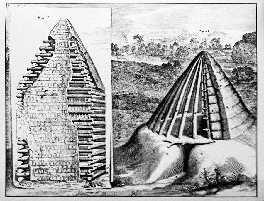 La cabaña primitiva de Vitruvio por Claude Perrault.