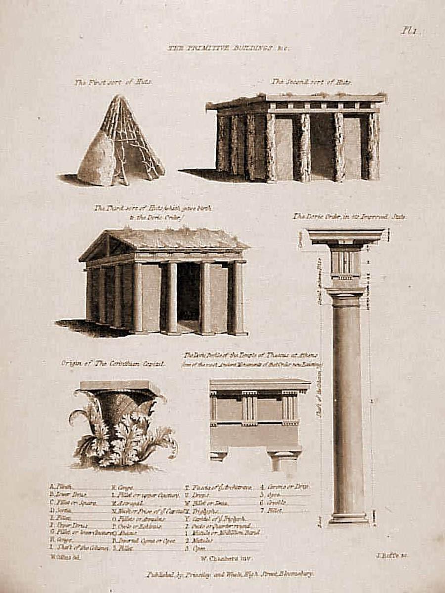 Reinterpretación de la cabaña primitiva por Gottfried Semper.