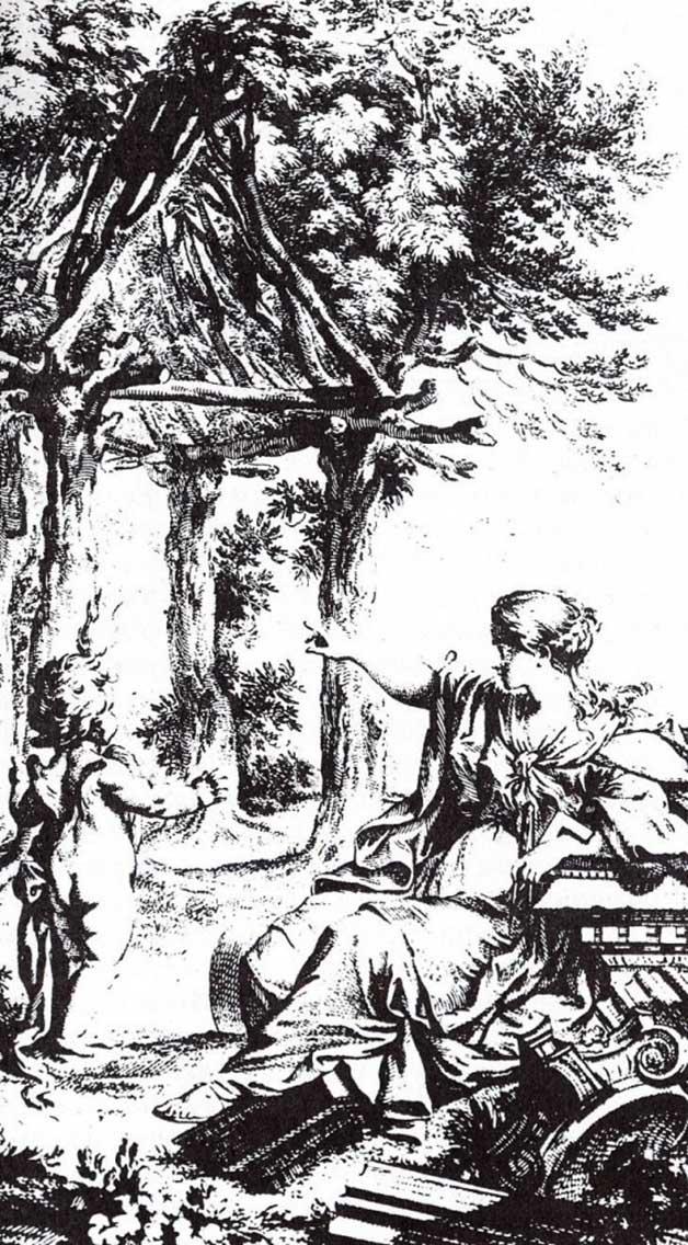 Interpretación de la cabaña primitiva por Laugier.