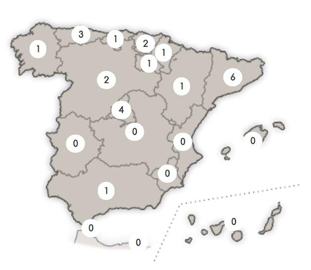 Viviendas con certificado Passivhaus en España por comunidades. Mapa: PEP