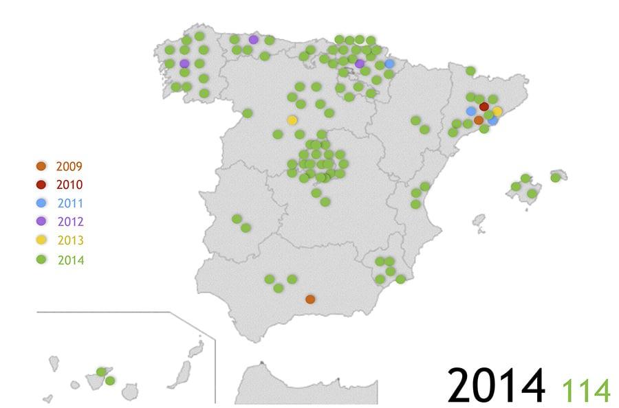 Mapa de Edificios Certificados Passivhaus y ECCN (Edificios de Consumo Casi Nulo)en 2014. Mapa: PEP.