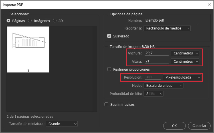 Si vamos a imprimir es recomendable manipular las dimensiones en centímetros.