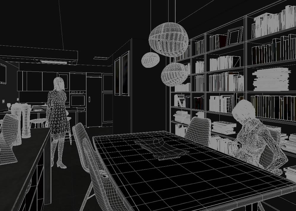 """El modo de visualización """"Hidden line""""de 3ds Max nos es útil para ver los límites exactos de un elemento"""