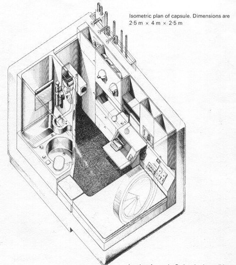 Perspectiva del interior de una de las cápsulas
