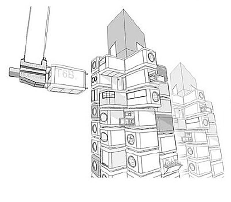 Perspectiva de procedimiento de montaje de la Torre Nakagin