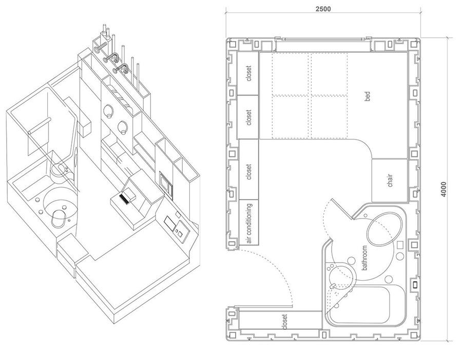 Plano de planta y perspectiva de una de las cápsulas de la Torre Nakagin