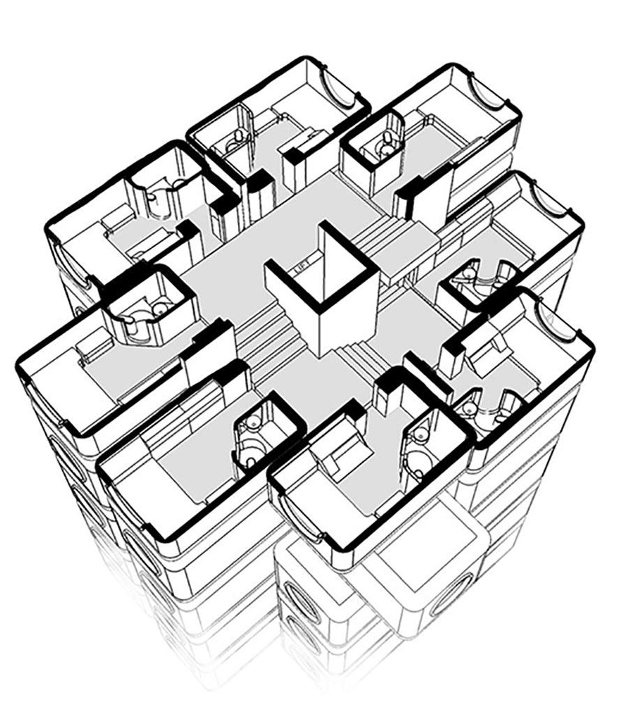 Prespectiva general de una planta de la torre. El núcleo central está rodeado por las cápsulas.
