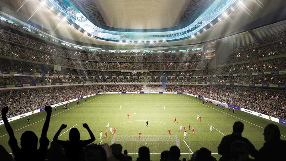 Vista interior del proyecto de remodelación del Santiago Bernabéu.