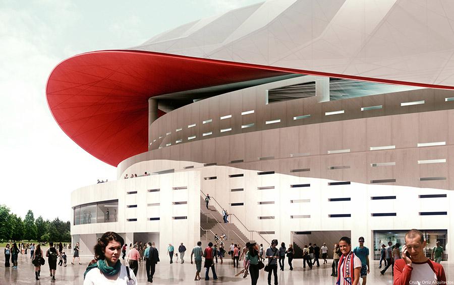 Vista exterior del futuro estadio del Atlético de Madrid.