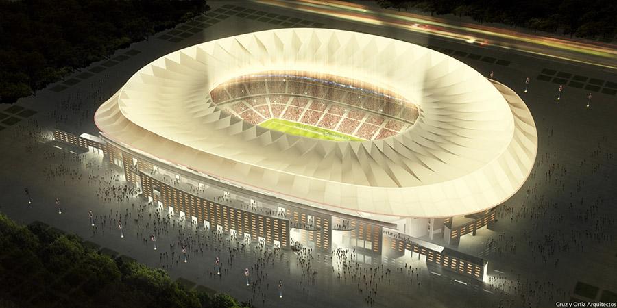 Vista nocturna del futuro estadio del Atlético de Madrid.