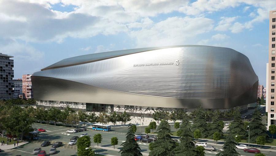 Vista exterior, desde el Paseo de la Castellana, del futuro estadio Santiago Bernabéu.