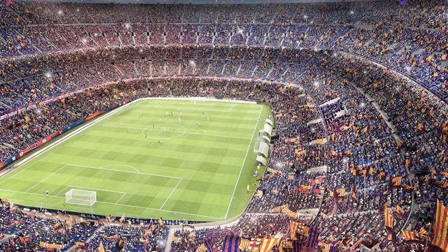 Vista interior del graderío y campo de juego del futuro Camp Nou.