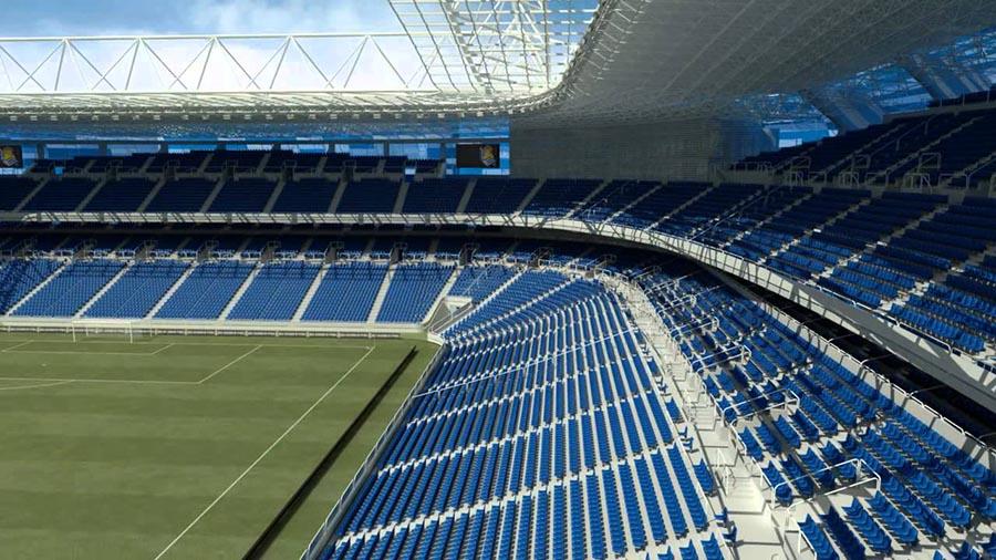Vista del campo y graderíos del futuro estadio Anoeta.