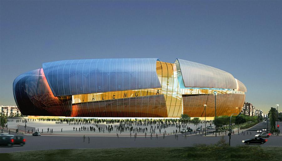 Proyecto original del nuevo campo del Valencia F.C. ahora mismo en fase de rediseño.