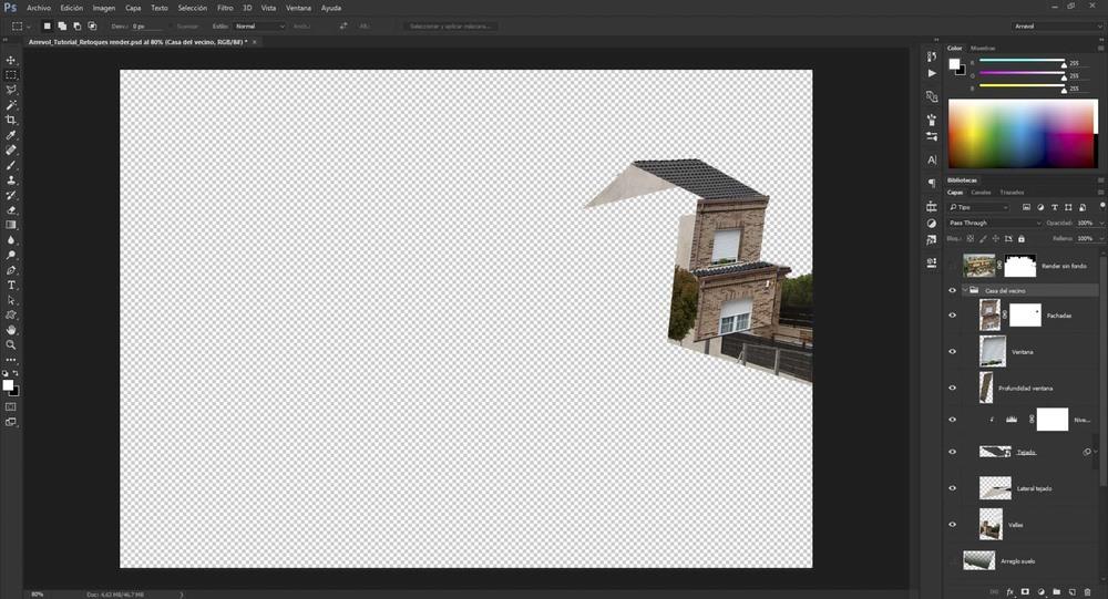 Al no poder obtener una fotografía real de la casa colindante con la misma perspectiva del 3D (debido a la altura de la cámara)tomamos varias fotografías de la vivienda para luego recortarlos y montarlas como si de un collage se tratara.