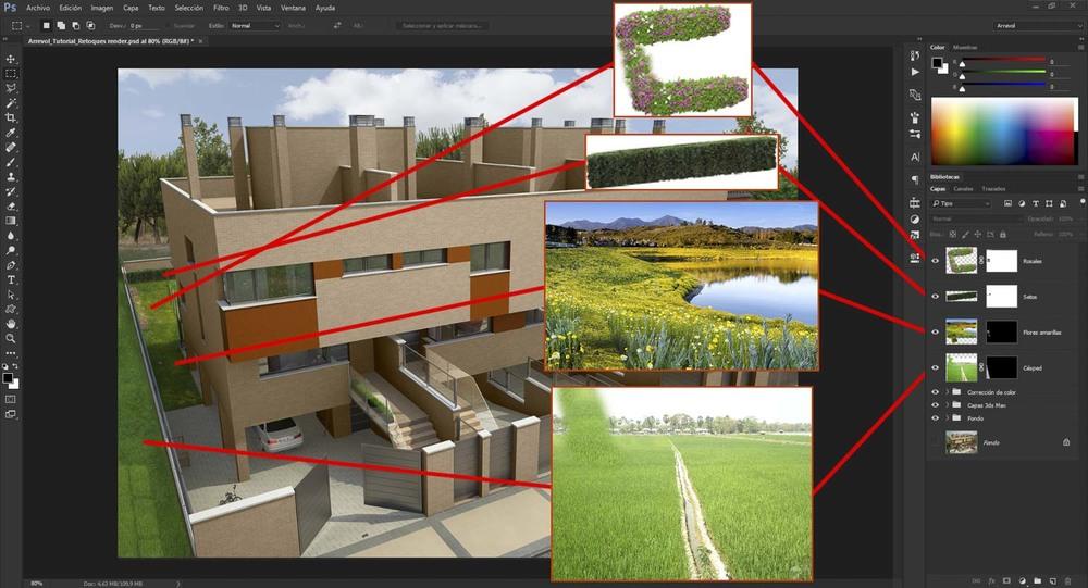 Al césped creado en el programa 3D le falta profundidad y detalle, pero buscando imágenes de campos, flores, arbustos, etc, podemos añadir más realismo a nuestra vegetación.