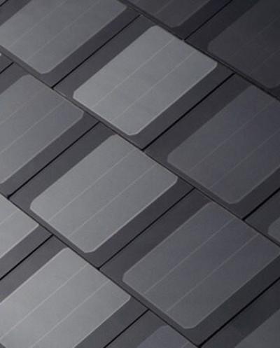 Teja solar de Tesla plana, estilo moderno.