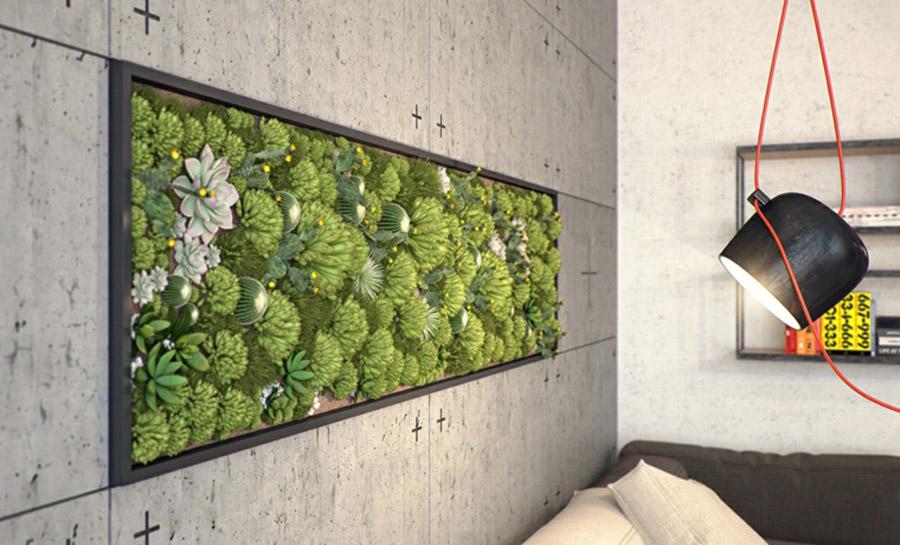 Jardín vertical totalmente empotrado en un tabique.