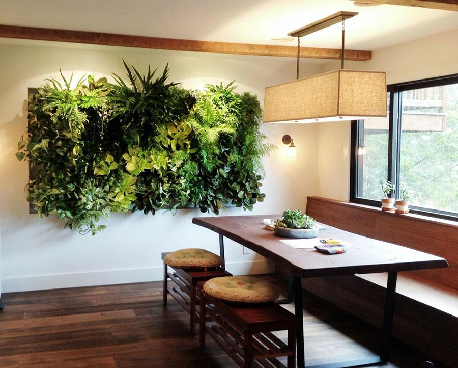 El espesor del jardín vertical dependerá de las especies de plantas que usemos.