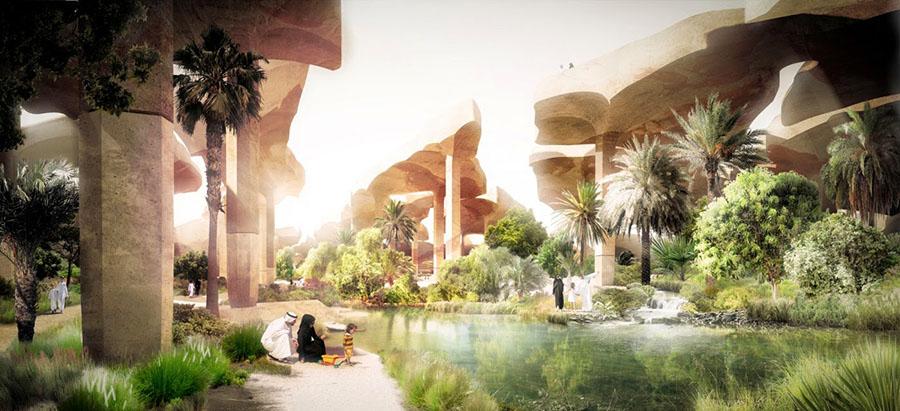 Proyecto para el futuro parque subterráneo Al Fayah en Abu Dhabi. Mediante un sistema de cubiertas se evita la evaporación de agua y se favorece la proliferación de un ecosistema. Heatherwick arquitectura.