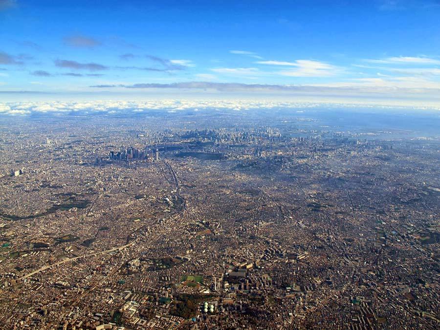 Vista aérea de la ciudad de Tokio.