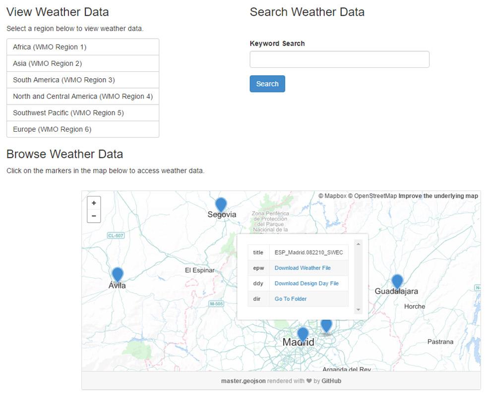 Mapa para la descarga de los datos climáticos. Web de EnergyPlus.