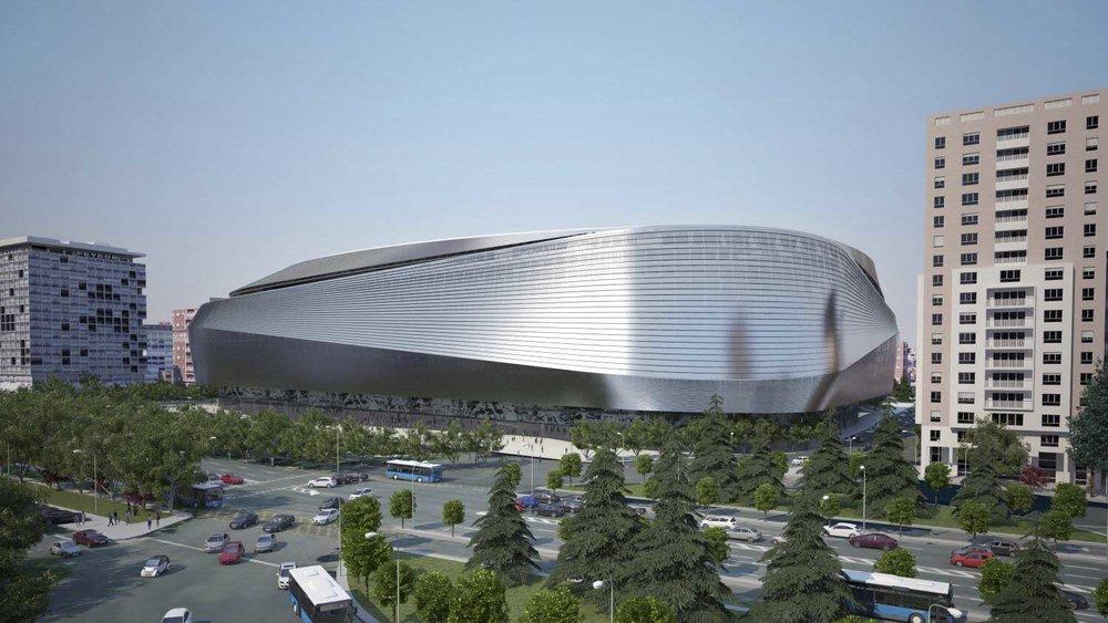 Aspecto de la nueva fachada oeste del estadio. Vista desde el Paseo de la Castellana