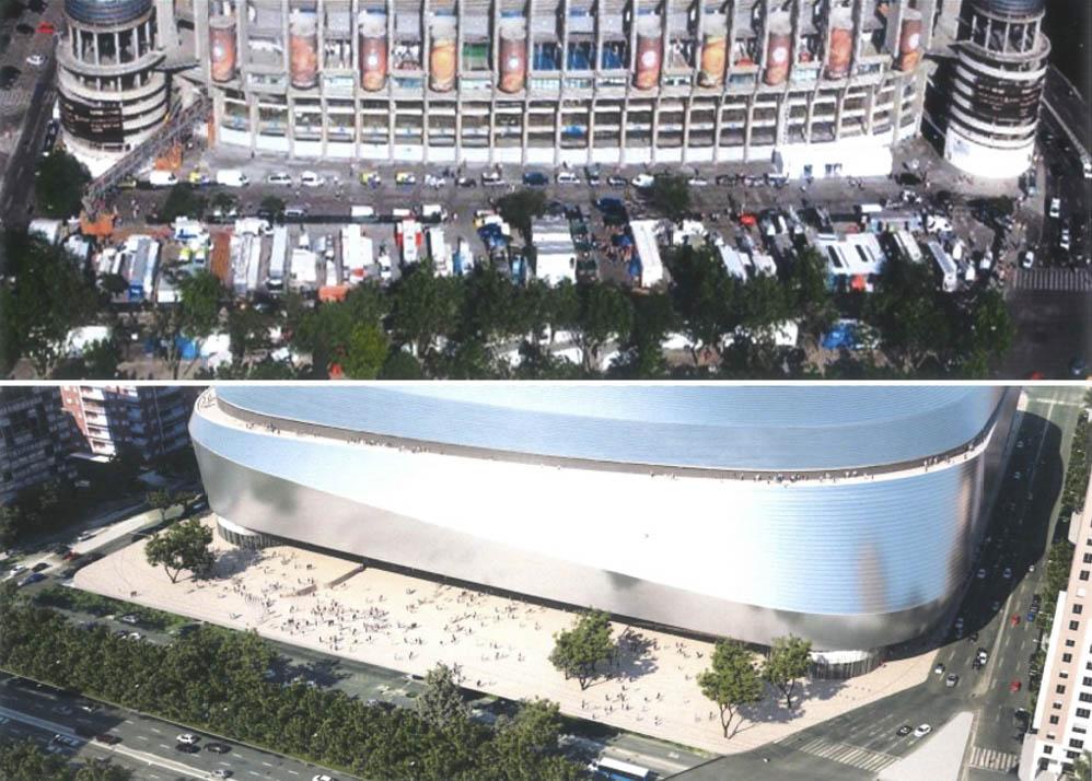 Estado actual y estado reformado de la fachada oeste del estadio en el acceso desde Castellana