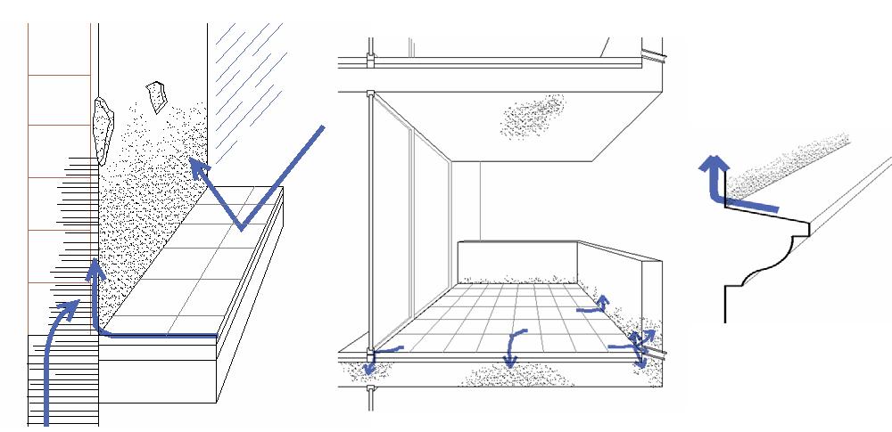 Aparte del terreno, la calle, las terrazas o las molduras pueden acumular agua y causar humedades por capilaridad.