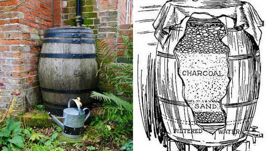 El sistema casero típico para recolectar y filtrar agua de lluvia. Un barril con diferentes capas de arena, grava y carbón.
