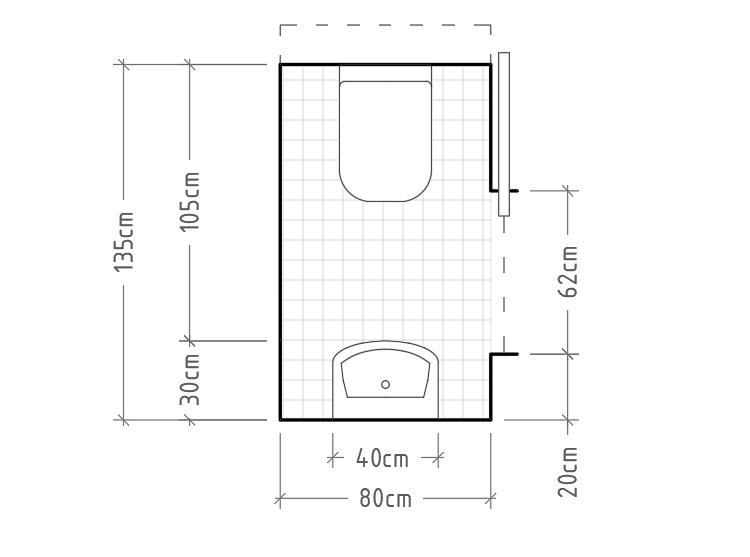 A - Aseo mínimo con cisterna empotrada (se debe prever un espacio en el muro o tabique para la cisterna)y lavabo sin encimera enfrentados. La puerta corredera es necesaria ya que con una abatible sería muy complicado cerrar el baño una vez dentro.
