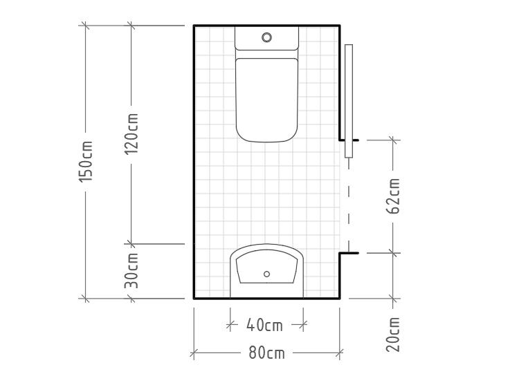 B - Aseo mínimo con inodoro y lavabo sin encimera enfrentados. La puerta corredera vuelve a ser necesaria. Este tipo de aseo a pesar de su reducido tamaño, es muy cómodo de usar y muy habitual de ver.