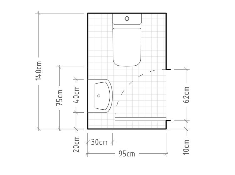 D - Aseo mínimo con inodoro y lavabo sin encimera en paredes perpendiculares. A diferencia de los casos anteriores, en esta ocasión, se puede colocar una puerta abatible de 62cm (medida más usual en baños), pero hay que tener cuidado de que no golpee a ninguno de los dos aparatos sanitarios.