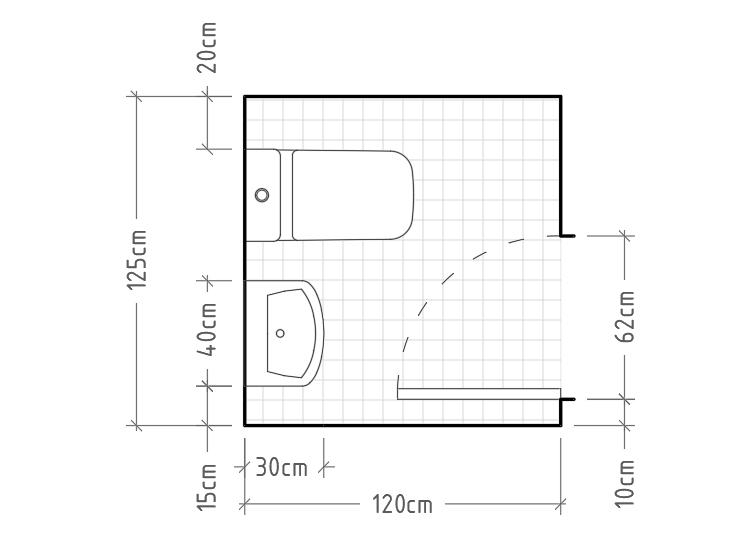 E - Aseo mínimo con inodoro y lavabo sin encimera en una misma pared. El baño forma un cuadrado casi perfecto y deja espacio más que suficiente para la correcta apertura de la puerta.
