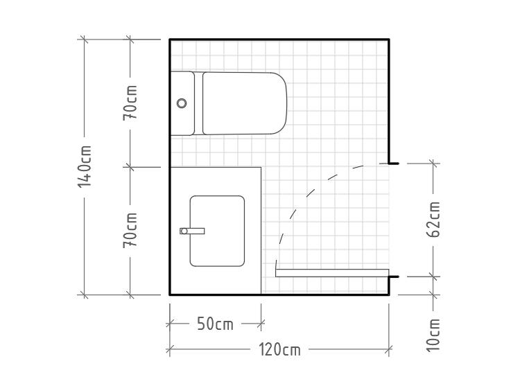 F - Aseo mínimo con inodoro y lavabo con encimera en una misma pared.