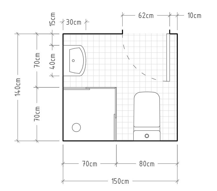J - Baño mínimo con inodoro y lavabo sin encimera en paredes perpendiculares, con ducha en esquina. Los platos de ducha en esquina son soluciones perfectamente viables cuando no disponemos de suficiente espacio en el baño y, siempre que no bajen de 60x60cm, serán suficientes para su correcto uso.