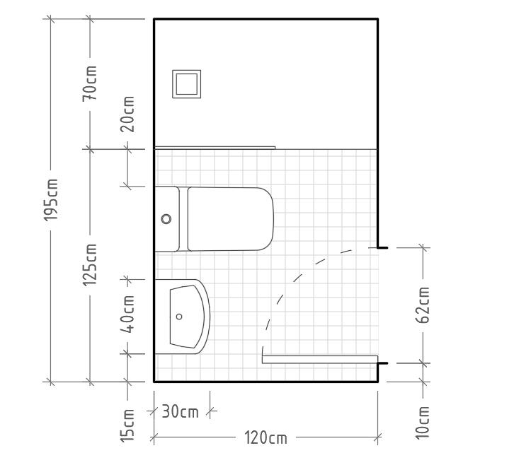 K - Baño mínimo con inodoro y lavabo sin encimera en una misma pared, con ducha al fondo. En este caso, podemos optar por apertura abatible o corredera en la ducha, o incluso un simple vidrio fijo, siempre respetando un paso de al menos 55cm.