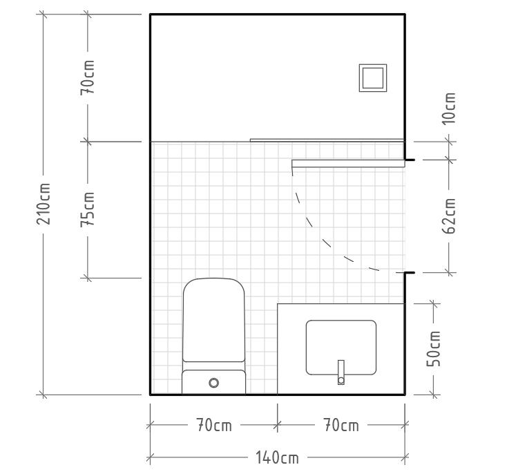 N - Baño mínimo con inodoro y lavabo con encimera en una misma pared, con ducha enfrentada. Al igual que en el anterior caso, debemos tener mucho cuidado de no golpear la mampara con la puerta del baño. Esto se puede evitar completamente colocando una puerta corredera.
