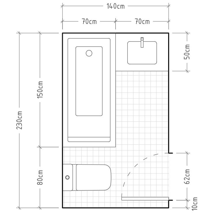 O - Baño mínimo con inodoro y lavabo con encimera en paredes perpendiculares y con bañera en esquina. Este tipo de distribución tan peculiar es perfecta cuando el espacio del que disponemos es muy longitudinal.