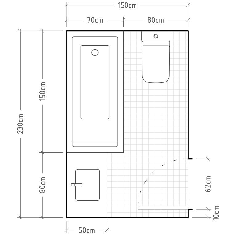 Arrevol arquitectos c mo dimensionar correctamente un ba o distribuciones para ba os y aseos - Distribucion bano con banera y ducha ...