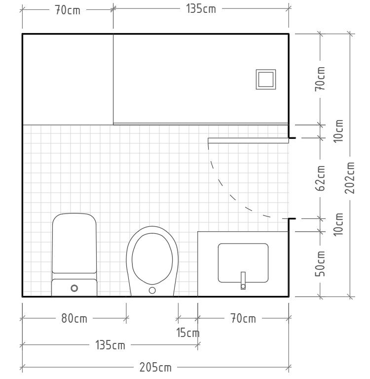 Q - Baño mínimo completo con inodoro, bidé y lavabo con encimera en una misma pared y ducha con zona de secado enfrentada al resto de aparatos sanitarios. Si disponemos de mucho espacio para la zona de ducha puede ser recomendable incluir una zona de secado que también hará de entrada a la ducha.