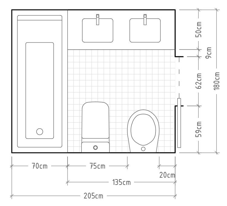 R - Baño mínimo completo con inodoro y bidé en una misma pared, enfrentados a una encimera de lavabo con dos senos, y con una bañera al fondo. Está es, probablemente, una de las opciones más compactas posibles para tener un baño completo, incluidos dos senos independientes y una bañera para tumbarse de 180cm.