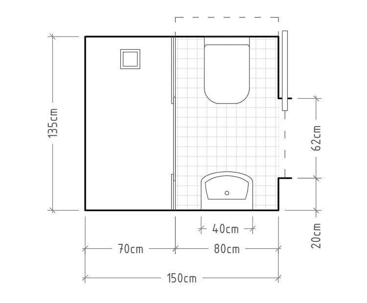 G - Baño mínimo con cisterna empotrada (se debe prever un espacio en el muro o tabique para la cisterna) y lavabo sin encimera enfrentados, con ducha de apertura central al fondo.