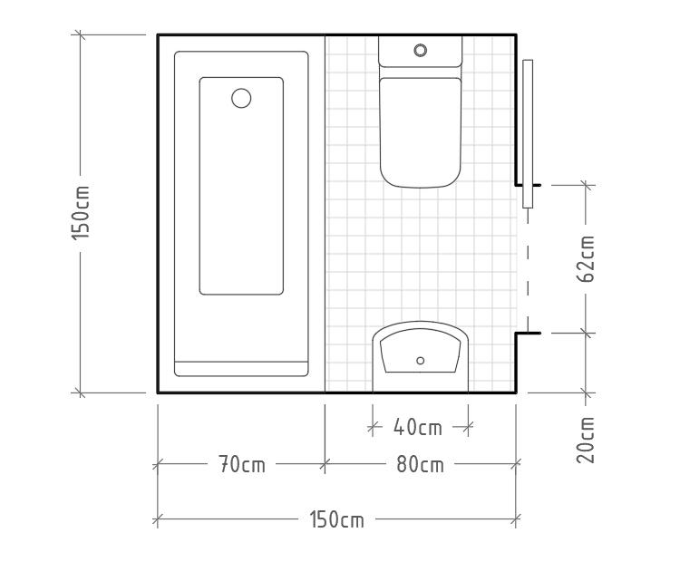 H - Baño mínimo con inodoro y lavabo sin encimera enfrentados, con bañera al fondo. Como ya comentamos en el anterior post sobre baños, las bañeras y duchas son intercambiables en la mayoría de los casos, pero si queremos una bañera para tumbarnos cómodamente necesitamos al menos 70x150cm, como en este caso.